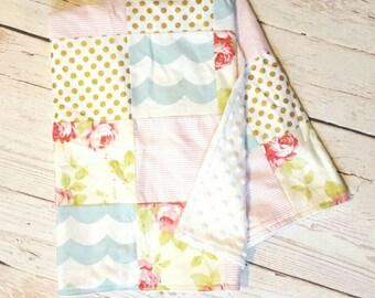 Vintage Floral Patchwork Blanket