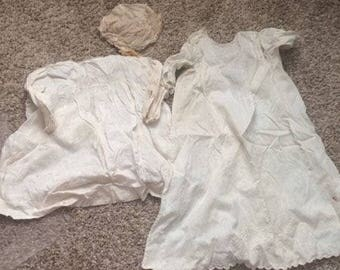 Vintage child gowns and cap