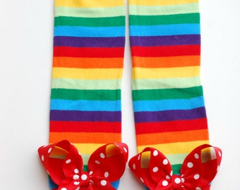 RAINBOW leg warmers with attached big bows