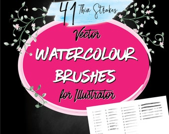 Watercolour Vector Illustrator Brushes - Thin