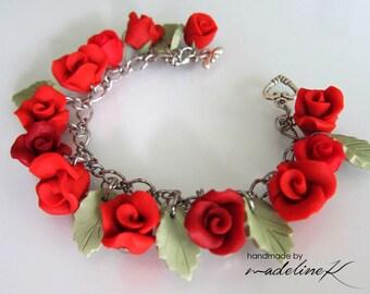 Rose Charm Bracelet, Handmade Polymer Clay Rose Bracelet, Red Rose Bracelet, Valentine Rose Bracelet, Wedding Rose Jewelry