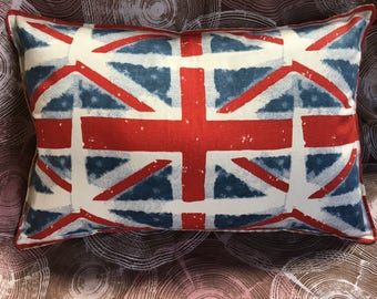 "Union Jack UK British flag pillow about 17"" X 11.5"" London red white blue with tan ticking backing"