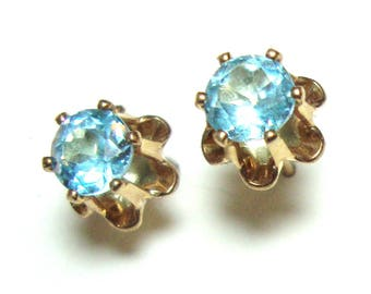 Blue topaz 5mm buttercup gold filled stud earring