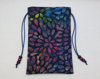 """Blue Batik, Silk Lined Handmade Tarot Card Pouch, Tarot Card Bag 4 1/2"""" x 7 1/4"""""""