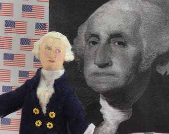 George Washington Doll American President Colonial History Art Collectible Miniature