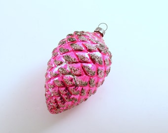 Vintage Christmas Ornament Pine Cone Pink Glass Ornament