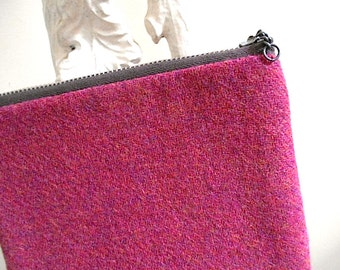 Harris tweed wool zipper pouch, utility bag - heather magenta fuchsia - eco vintage fabrics