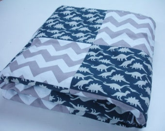 Dinosaur Parade Navy and Gray Chevron Patchwork Minky  You Choose Size Blanket MADE TO ORDER No Batting
