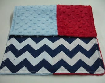 Navy Chevron with Red and Baby Blue Minky 10 x 16 READY TO SHIP