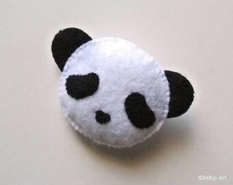 Panda Felt Brooch Panda Felt Pin Black & White Panda Felt Accessory Stuffed Animal Panda Plush Handmade Cute Panda Baby Shower Gift MiKa