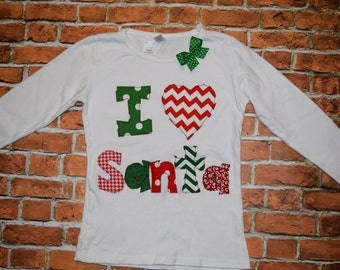"""Girls Christmas I LOVE SaNTA tree """"O CHRISTmAS TReE"""" collection  tee shirt red or white sizes 6-12-18-24 mth 2T 3/4 - 5/6 - 7/8 - 9/10"""