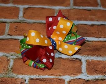 Girls BACK TO SCHOOL  ribbon hair bow