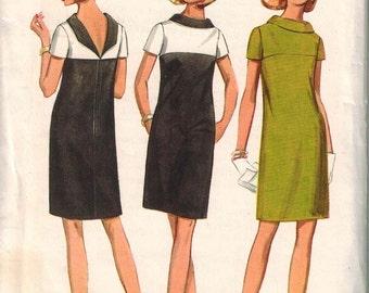 1960s Butterick 4666 Gorgeous Mod Dress Sewing Pattern Vintage Size 12 Unique Low back neckline