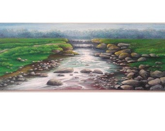 """Oil Painting Waterfall River Rocks 12"""" x 36"""" READY to SHIP"""