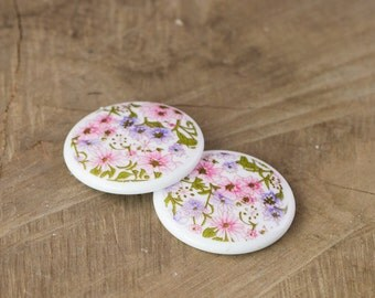 Vintage Pink White All Over Floral Cabochon 35mm (2) cab018A