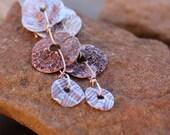 RESERVED + Desert Imprint Earrings + Fine Silver and Copper + Soaptree Yucca Bark Impression + Lichen Boulder Impression + Wabi Sabi