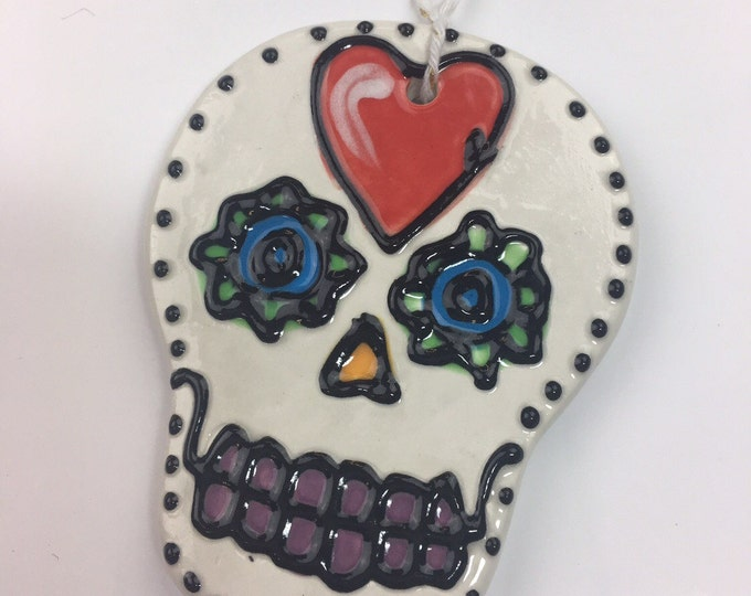 Ceramic Sugar Skull Ornament HEART