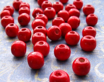 Red Wooden Beads 10mm - Over 100 - Glossy Cherry Red Wood Beads Round (WBD0111)