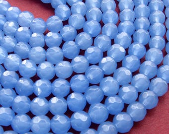 6mm Light Blue Faceted Milk Glass Beads - 94 Beads - Pastel Blue Round Fire Polished (CBD0193)