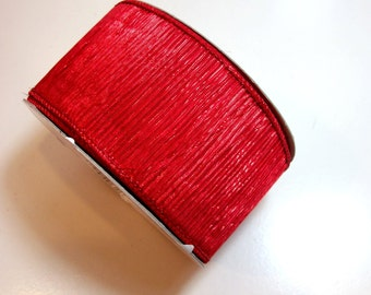 Red Ribbon, Metallic Red Pleated Wired Fabric Ribbon 2 1/2 inches wide x 10 yards, Offray Glitzfest Ribbon
