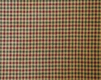 Homespun Material   Cotton Small Check Material   Wine And Green Small Check Material   35 x 44