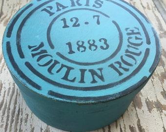 Primitive Box, Blue Box, Paris, French, France, Wood Box, Prim, Farmhouse Decor, Cottage Decor, Primitive decor, Wall Decor,  Handpainted