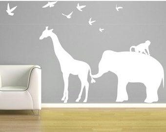 ON SALE Elephant Giraffe Wall Decal Vinyl Elephant Birds Monkey Giraffe Zoo Line Safari Jungle Silhouette Nursery - CA112