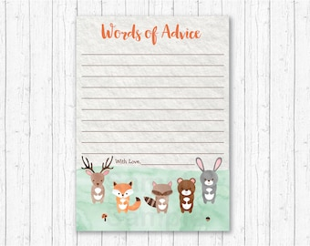 Cute Woodland Animal Mommy Advice Cards / Words of Advice / Woodland Baby Shower / Watercolor / Gender Neutral / INSTANT DOWNLOAD A156