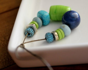 Blue Green Beads - Glass, Ceramic Collection x 13