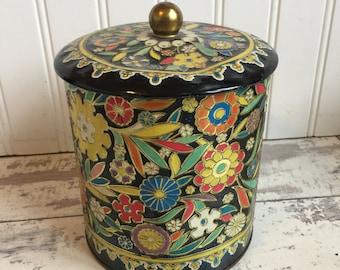 Vintage Tin - Daher Tea Biscuit Candy Tin - Black Enamel