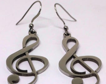 Stainless Steel Music Note Earrings- Stainless Steel Ear Wires, Musicians Gift, Sybolism Jewelry, 316l Stainless Steel Jewelry, Piano Player