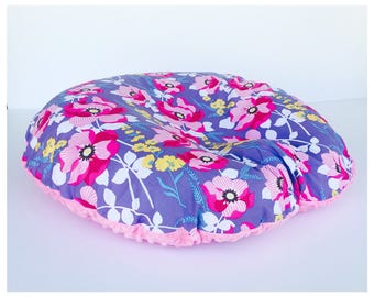 NEWBORN LOUNGER BOPPY Cover / Zipper closure/ cotton print with pink minky dimples, Floral cotton print, modern baby nursery gift