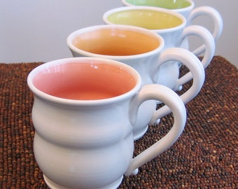 Large Pottery Mugs in Summer Fruit Colors, Wedding Gift, Set of Four Stoneware Coffee Cups 16-18 oz.