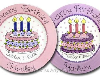 11 inch Personalized Birthday Plate - Birthday CupcakeFloral Birthday Cake Design