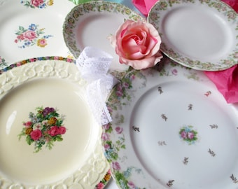 Vintage Mismatched Plates China Floral Pink Set of Five - Weddings Bridal