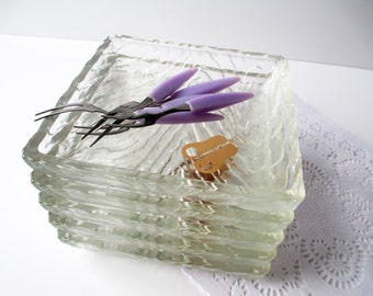 Retro Appetizer Dish and Purple Fork Set of Five - Vintage Party