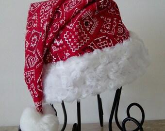 Santa Hat in Red Bandana Print Fabric,Country Santa, Red Bandana, Country Western, Biker's Santa Hat, Christmas, Santa Hat