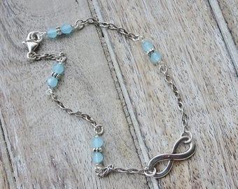 Silver Chain Beaded Ankle Bracelet, Silver Infinity Charm Beaded Anklet, Aqua Bead Ankle Bracelet, Crystal Bead Bracelet, Boho, Beach