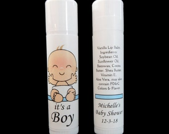 Baby Shower Lip Balm - Baby Shower Favors - Lip Balm Favors - Personalized - Lip Balm - Vanilla Lip Balm - Baby Boy - Blue