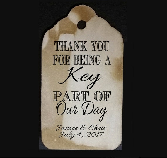 Thank you for being a key part of our day favor tag MEDIUM Tags Personalize with names and date Choose your Quantity MEDIUM