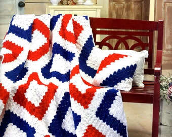 Crochet Afghan Liberty 4th of July Patriotic Gift Present Birthday Mother Day Wedding Graduation Made to Order