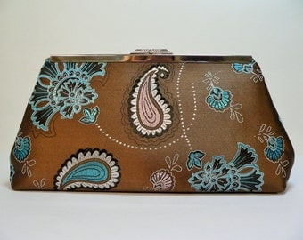 Modern Clutch Large Brown Paisley Brocaide