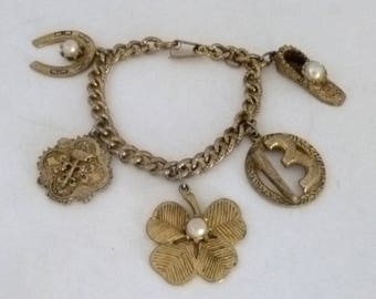 Charm Bracelet, Lucky charms, chaine bracelet, horseshoe charm, 4 leaf clover, 13, shoe with pearl, vintage bracelet, lucky charm bracelet