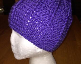 Crocheted Purple Beanie