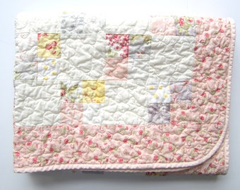 Floral Baby Quilt | Patchwork Quilt | Pink Cream Roses | Crib Bedding