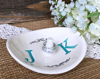 Wedding Ring Holder - Ring Dish w/ Double Monogram - Personalized Ring Dish Wedding Gift for Couple