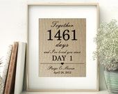 I've Loved You Since Day 1   Days Together Personalized Burlap Print   Wedding Anniversary Gift for Wife Husband   Anniversary Keepsake