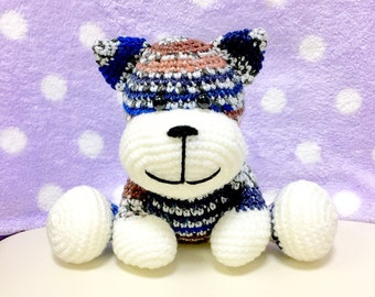 Amigurumi Cat / Crocheted Cat --- Tom Cat - Blue