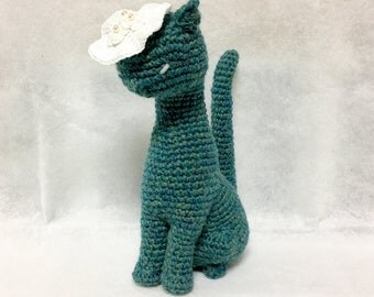 Amigurumi Cat / Crocheted Cat --- Classy Cat - Bluegreen (NORO Yarn)