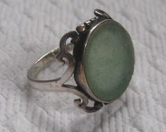 jadeite ring . sterling jadeite ring . Size 6 ring
